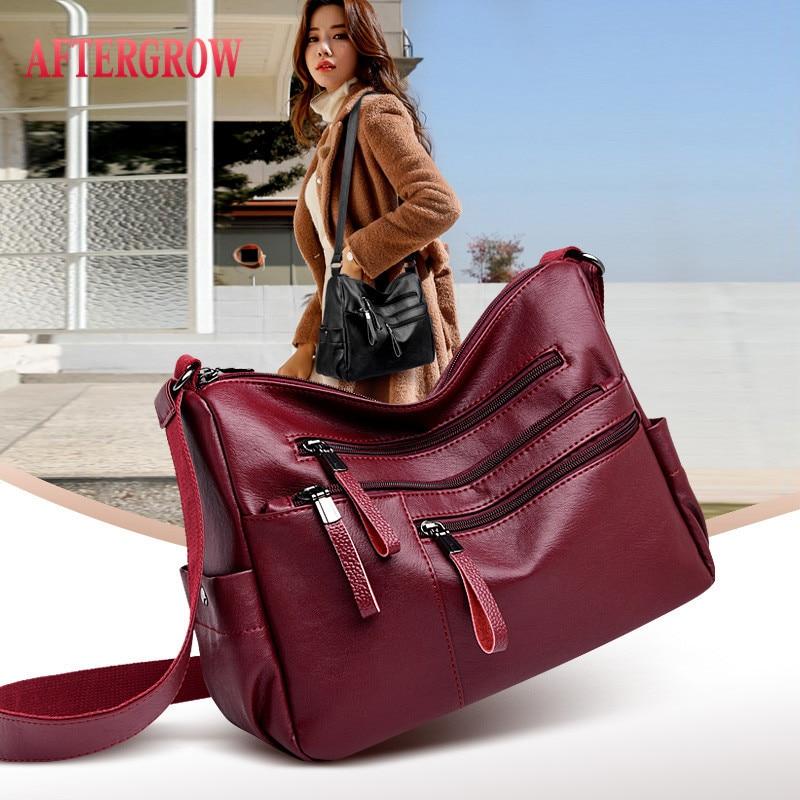 Multi-pocket Female Shoulder Bags 2019 Designer Good Quality Leather Women Crossbody Messenger Bag Daily Portable Ladies Handbag