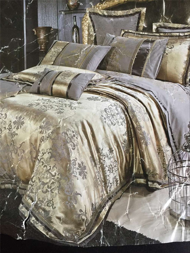 4pcs luxury damask tribute silk bedding set king size. Black Bedroom Furniture Sets. Home Design Ideas