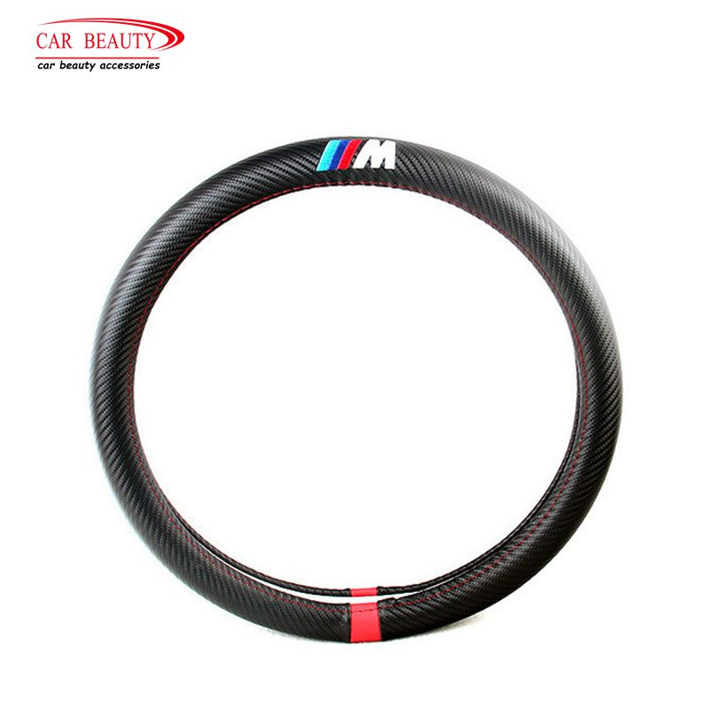 38cm Universal Steering Wheel Cover Sport Carbon Fiber PU Leather Car Steering Wheel Covers for Auto Car Styling All Year Use