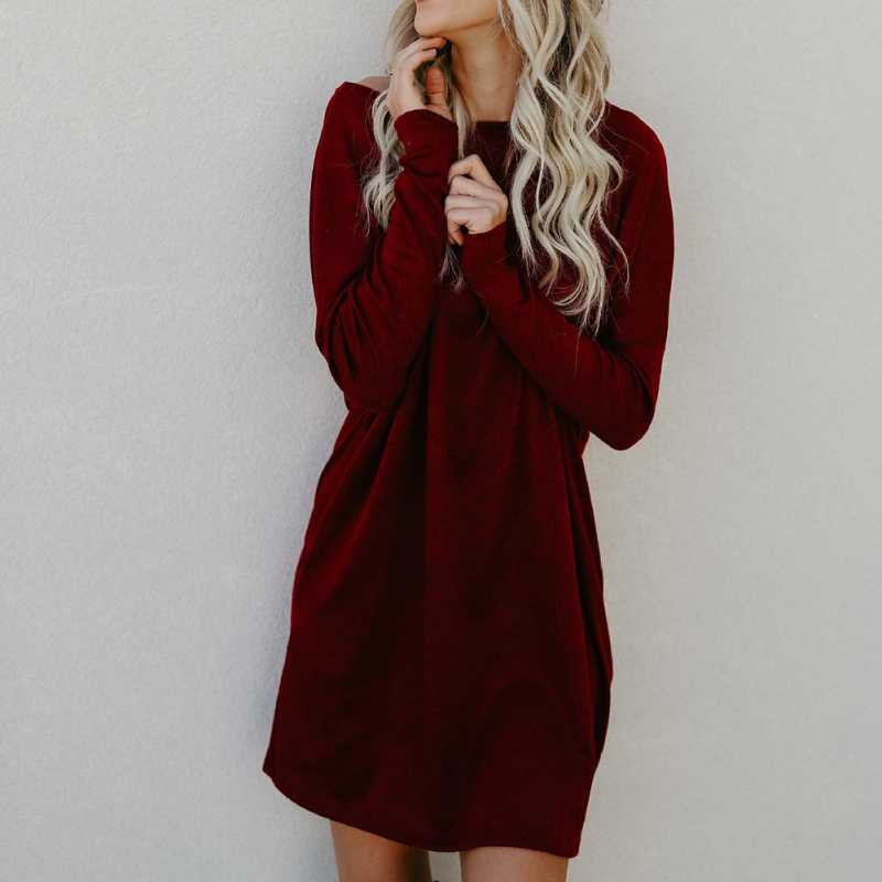 Autumn Winter Women Knitted Long Sleeve Loose Dress Fashion Womens Crew Neck Pullover Dresses