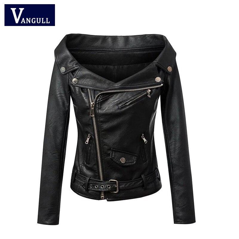 Woman Off shoulder faux leather jacket women motorcycle ...