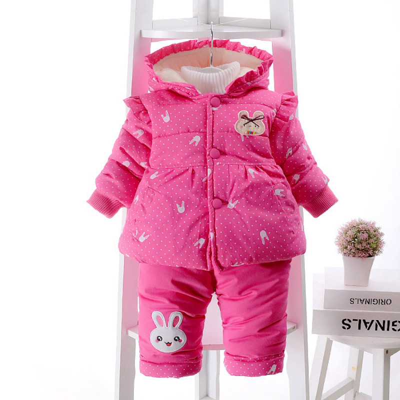 Girls Winter Clothes Baby Girl Warm Down Clothing set Two Pieces Coats Jacket Pants Bunny Rabbit Pattern Size for 2,3,4 years russia winter boys girls down jacket boy girl warm thick duck down