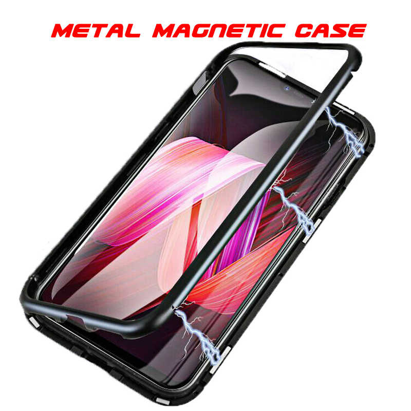 Metal Magnetic Case For Huawei P30 P20 Mate 20 Pro Honor 10 Lite 8X Nova 3 3e 4e Y5 Y9 2019 Y6 Y7 Pro Tempered Glass Clear Cover