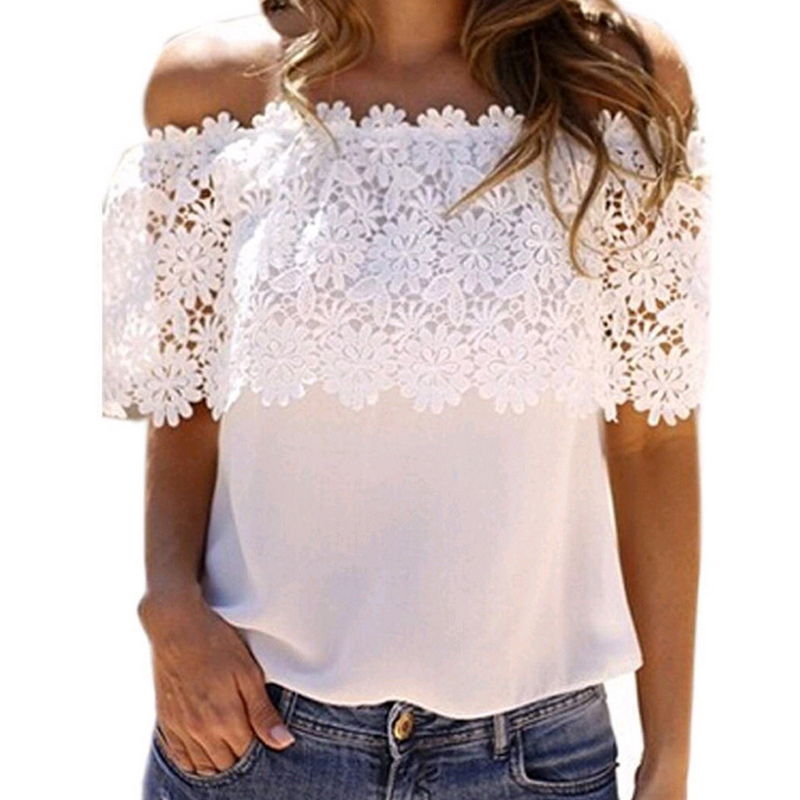 Sexy Summer Women Off Shoulder Lace Sleeve   Blouse   Floral Chiffon Splice   Blouses     Shirt   Casual Tops QL Sale