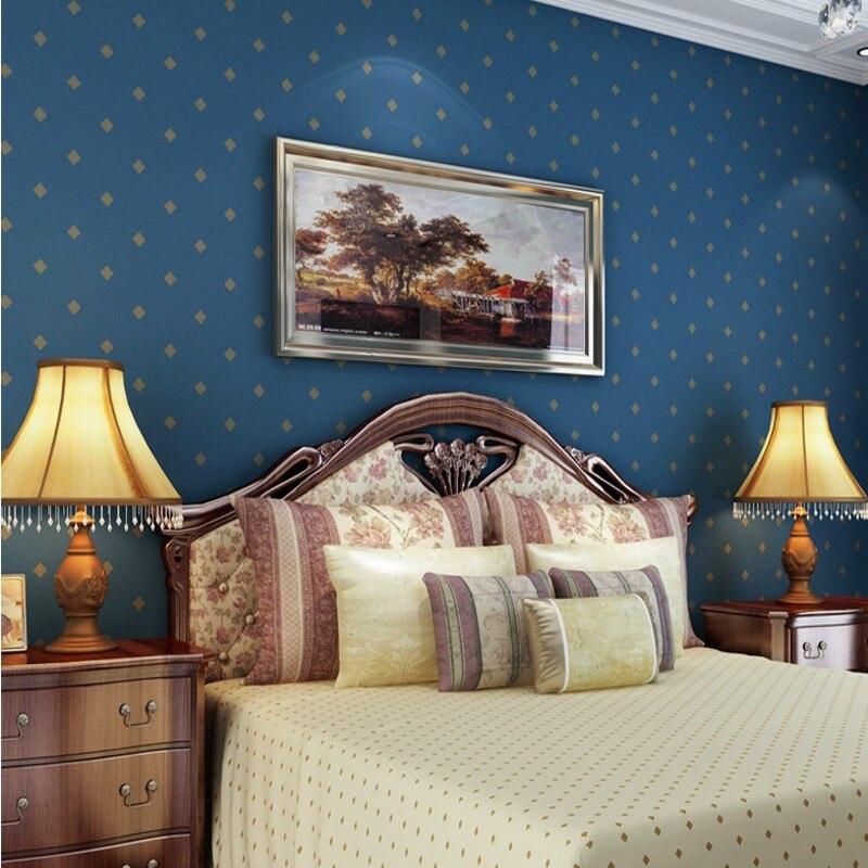 Free Shipping Modern Mediterranean dark blue wallpaper nonwovens bedroom lobby living room TV background wallpaper napapijri guji check dark blue