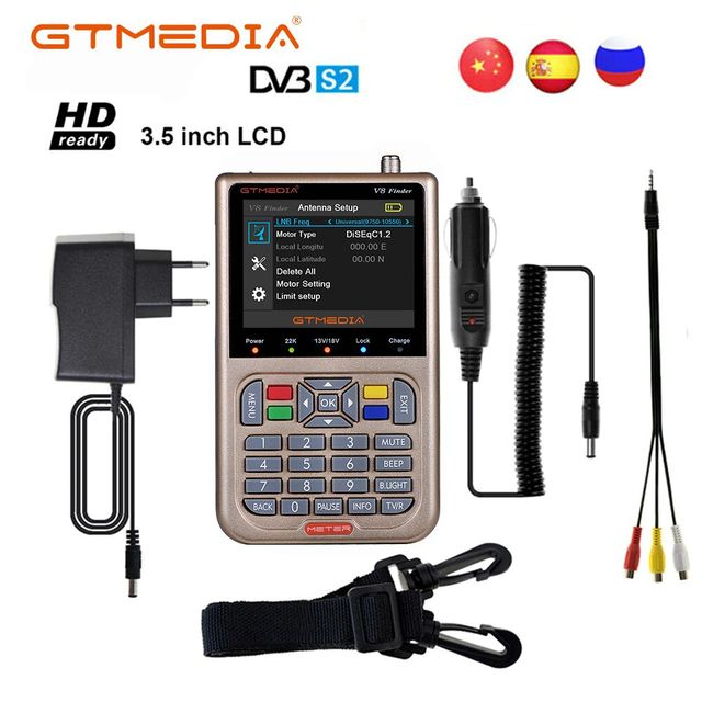 Localizador satélite V8 Finder Meter, DVB S2/X2S HD MPEG 4, DVB S2, entrada de ubicación, actualización completa de 1080P de GTmedia V8 Finder