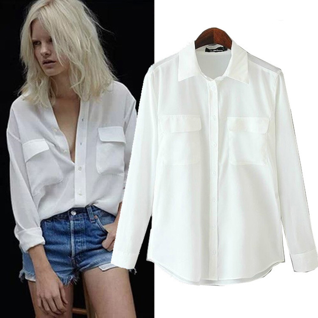 Spring 2015 Fashion Casual Long Sleeve Lapel Collar Loose Boyfriend Blouse  Shirt Tops for Women White Black Size S-L d618d5b7c4