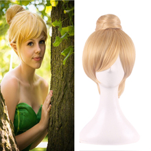 цена на 30cm Short Blonde Cosplay Wig Fairy Tinker Bell Full Hair Wigs For Women Princess Tinkerbell Adult Size Synthetic Hair +Wig Cap