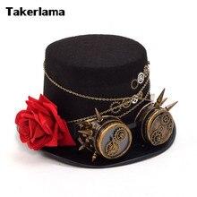 Takerlama Vintage Steampunk Gear Glasses Floral Black Top Hat Punk Style Fedora Headwear Gothic Lolita Cosplay Hat Unisex Hat