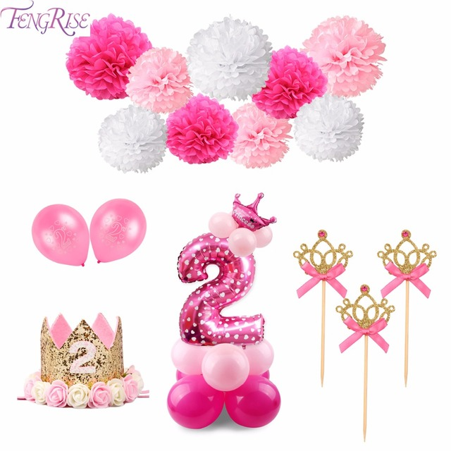 FENGRISE 2nd Birthday Banner I AM TWO Balloons Pink Blue Happy Party Decoration Kids Baby Shower Favors