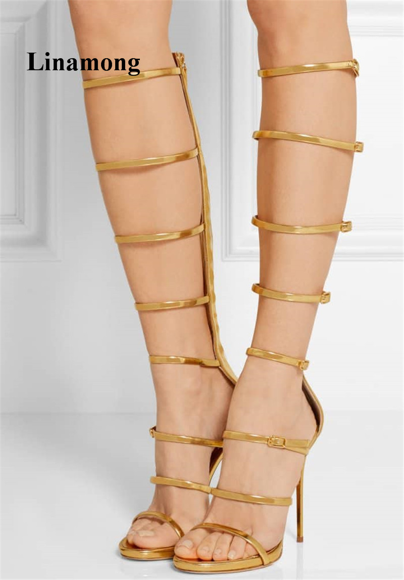 2018 New Shoes Fashion Long Tube One Word Thin High Heel Women Sandals Three Color Sexy Show models Fashion Women Sandals 2018 summer fashion fretwork long tube thin high heel sexy women boots solid fashion sexy sandals two color women boots sandals