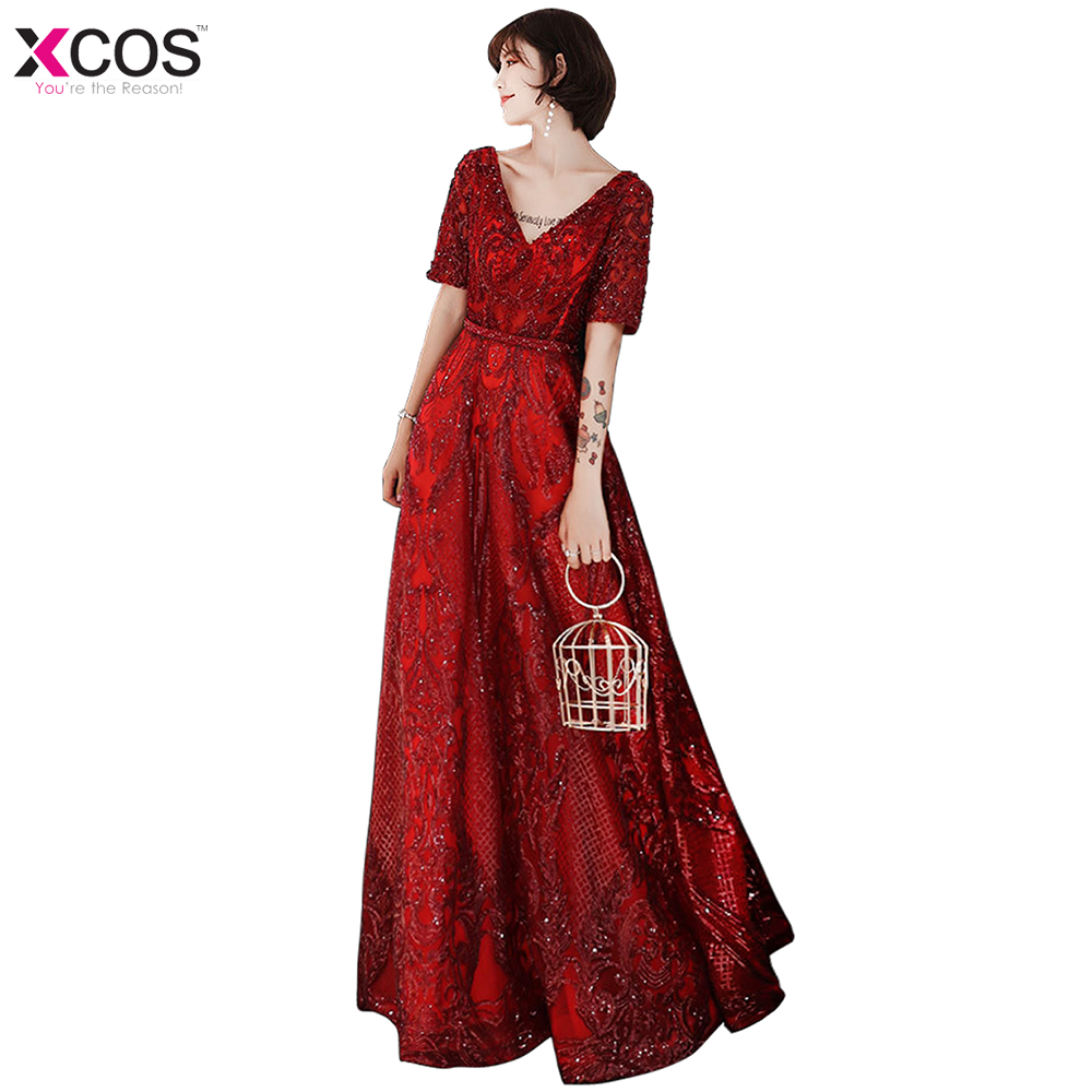 2019 Prom Dresses New A Line V Neck Lace Long Party Gowns Sequins Appliques vestido de formatura longo Vestidos De Fiesta Rojos