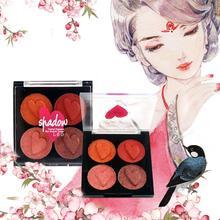 Velvet Wet Powder 4 Colors Blushing Makeup Eyeshadow Palette Including Orange Grapefruit Pumpkin Earth