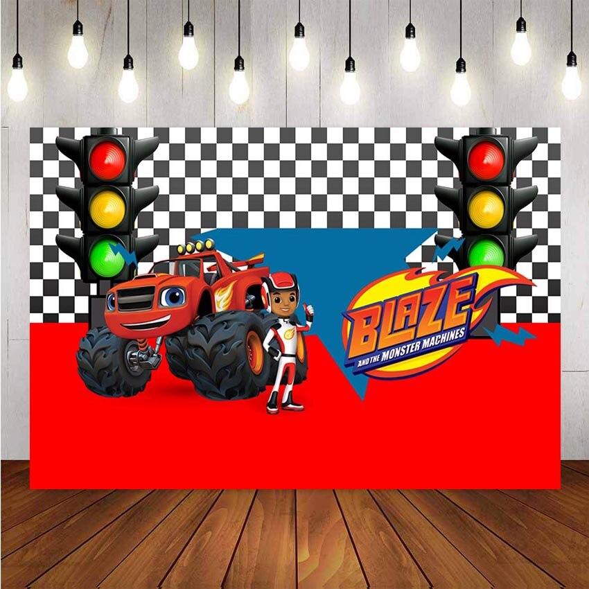 Photography background Vinyl Blaze Monsters Machine Truck Car Race Traffic Light Custom Backdrop Decor Backdrop Photo Studio