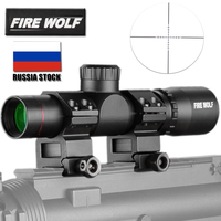 4.5x20 Rifle Scope Compact Hunting Tactical Optical Sight P4 Reticle Riflescope With Flip open Lens Caps and Rings