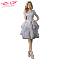 The New Spring Grey Lace Evening Dress The Bride Toast Princess Evening Dress Graduation Dinner Party