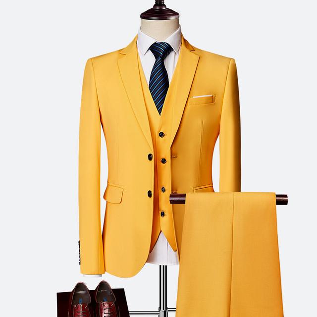 Suit suit male 2019 spring and autumn high-end custom business blazers three-piece / Slim large size multi-color boutique suit