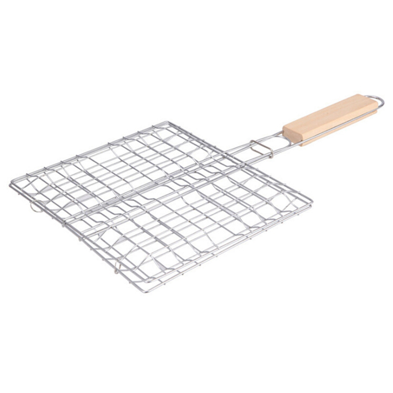 1Pcs Stainless Steel square Barbecue tools barbecue net wire grill BBQ barbecue kitchen supplies grilled fish clip to burn oven
