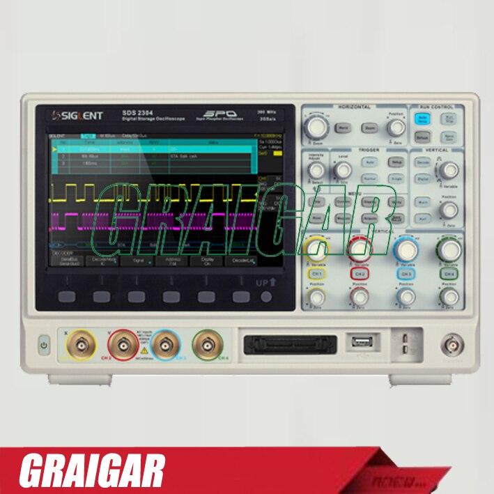SIGLENT 8 pouce TFT-LCD 100 MHz 4 Canaux super phosphore numérique Oscilloscope USB SDS2104 avec 28 M Mémoire profondeur