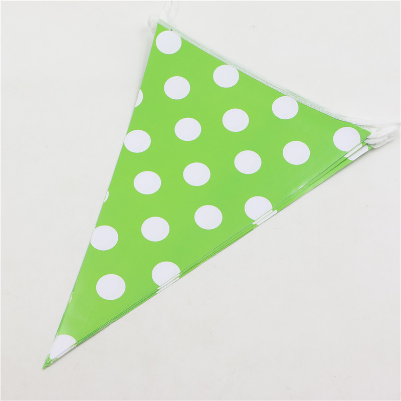 Pennats Green Polka Dots Happy Baby Shower Kids Favors Bunting Flags Birthday Party Banners