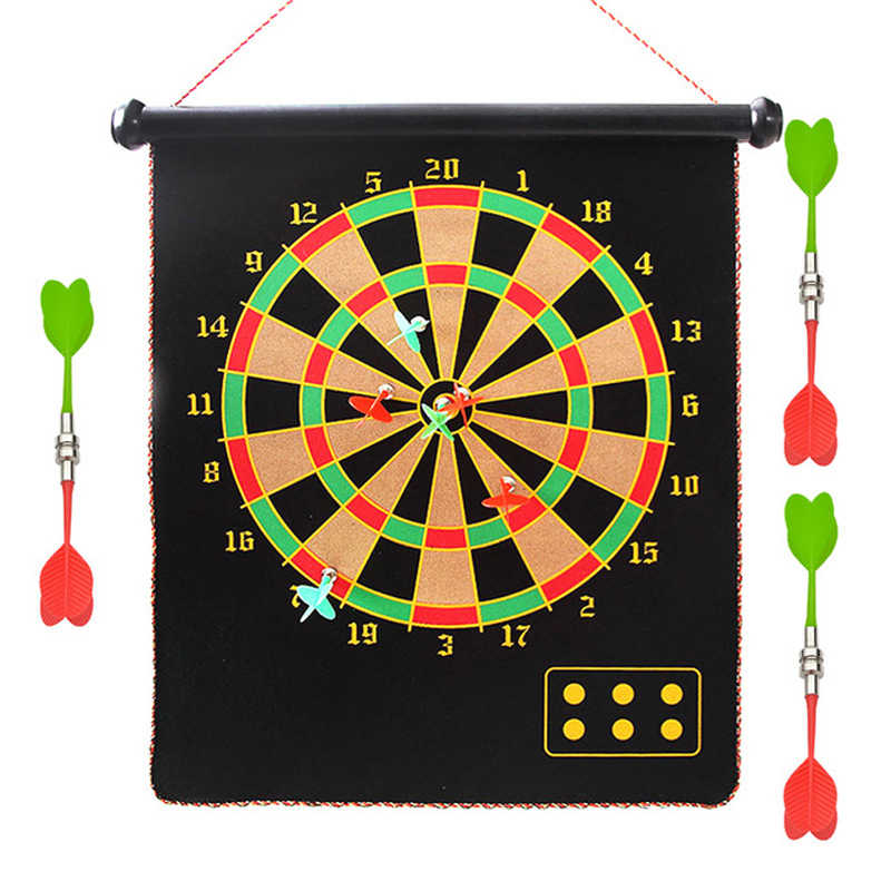 12/15/17 inch target dart flocking dartboard board magnetic darts set indoor shooting sports game double sided magnet target