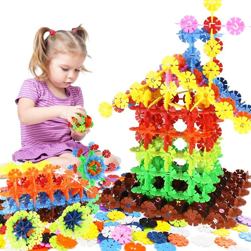 12 Color Digital Letters Thick Snowflake Pieces Bulk Assembled Building Blocks Puzzle Children Early Education Puzzle Toys