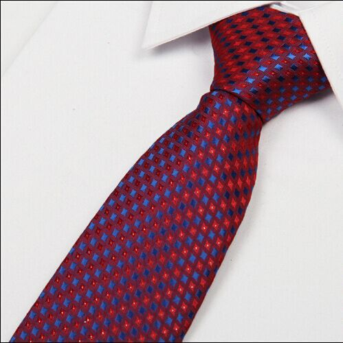 SHENNAIWEI Men 2018 Archery Necktie Gradient Red And Royal Blue Polka Dot Tie 8 Cm Gravatas Slim Jacquard Bulk Lots Corbatas