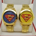 New Fashion Sports Superman Watch, Set with Diamonds , For Men and Women Golden stainless steel Quartz Watch