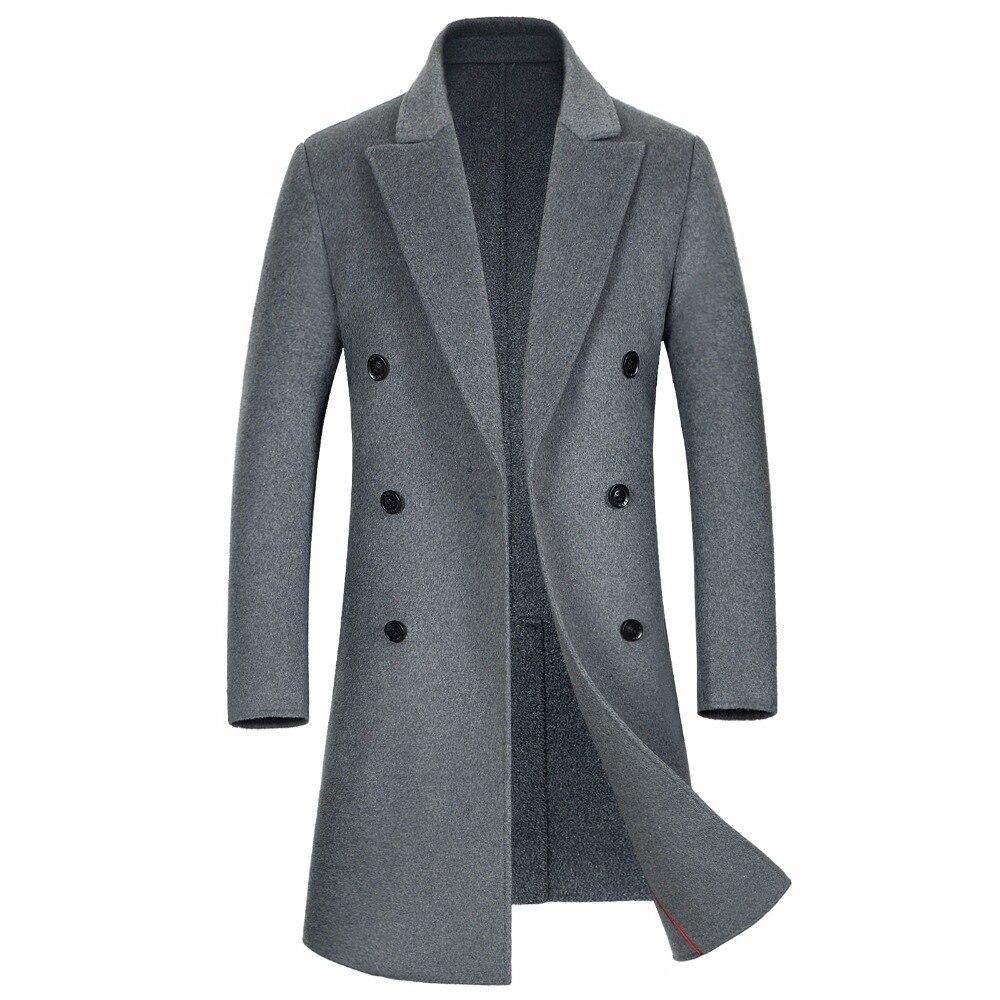 Шанхай история осень зима новые длинные Для мужчин пальто отличное качество элегантный двубортный длинный плащ пальто 3 цвета