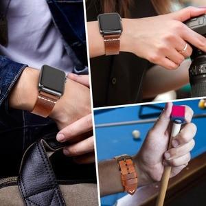 Image 5 - MAIKES Neue Ankunft Echtem Leder iWatch 44mm 40mm Uhr Band Für Apple Uhr Strap 42mm 38mm serie 4/3/2/1 Armband Armband