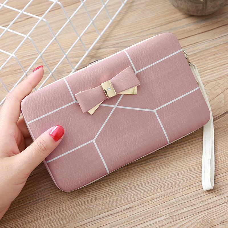 Nueva moda de lujo de la marca de las mujeres de la cartera del dinero del bolso de cuero de la cartera del embrague femenino de la muchacha de la correa de la muñeca