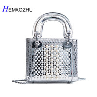 2018Patent Leather Pearl Bag Lady Bag 2018 New Fashion Chain Shoulder Messenger Bag Luxury Brand Designer Portable Small Package