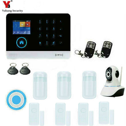YoBang Security Touch Keyboard WIFI GSM Home Security System Android IOS APP WIFI IP Camera PIR Motion Detection Sensor 433MHZ