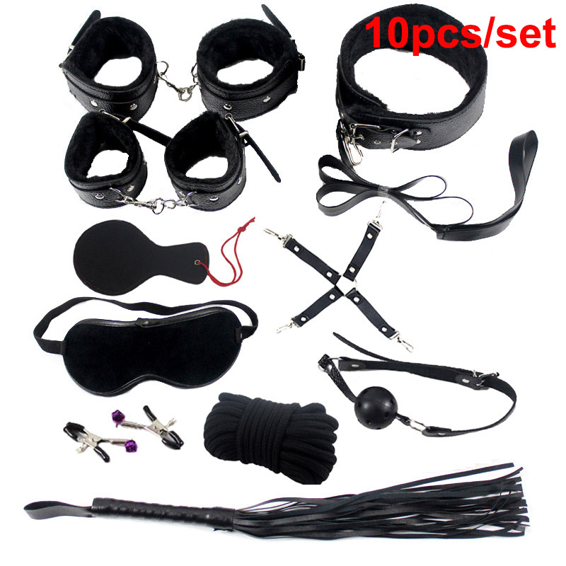 Sexy Bondage Set Cotton Red BDSM Restraint Sex Leather Handcuffs Footcuffs Cosplay Toys Emo Gothic Mark Whip Collar for Adult