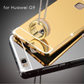 Caso para huawei p9 lite/g9 espelho de metal de alumínio + chapeamento tampa traseira acessórios de proteção caso híbrido de luxo completo para huawei g9