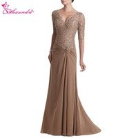 Alexzendra Chiffon Long Lace Mother of Bride Dress with Short Sleeves V Neck Long Prom Dress Plus Size Party Dresses