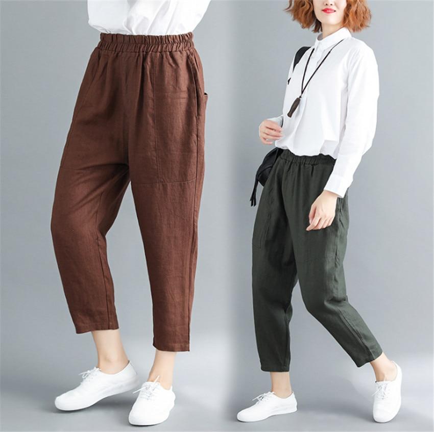 MLCRIYG Lino ocasional cintura Haren pantalones 2018 otoño nuevo estilo pantalones de algodón