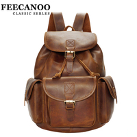 Genuine Leather Men And Women Backpacks Fashion 100 Cowhide Leather Backpacks For Lady Solid High Quality