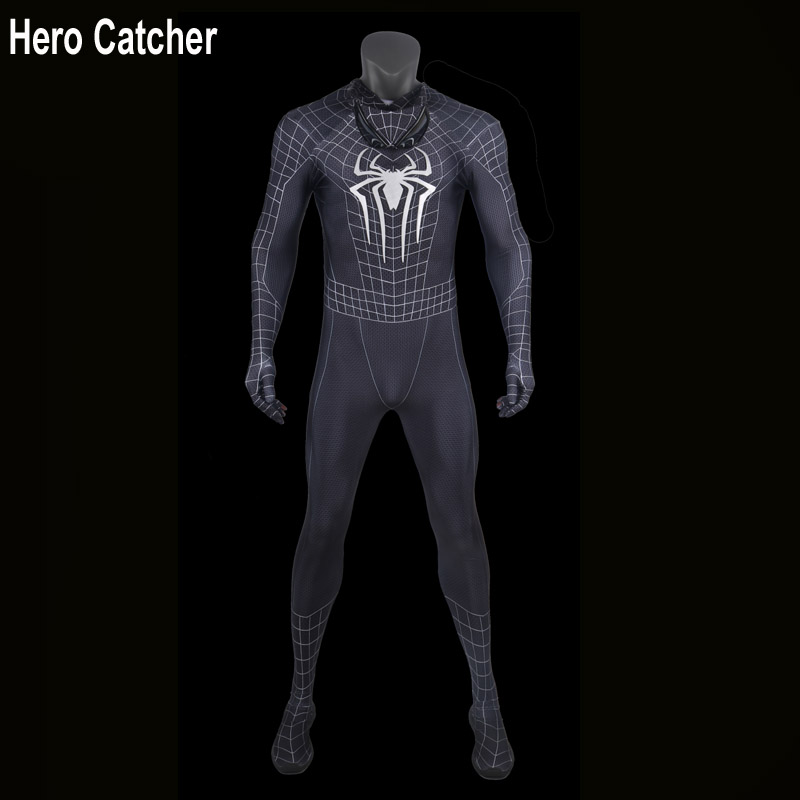 Hero Catcher Top Quality Black Spiderman Costume Classic Black Spider-man Cosplay Suit For Man Spiderman Black Suit