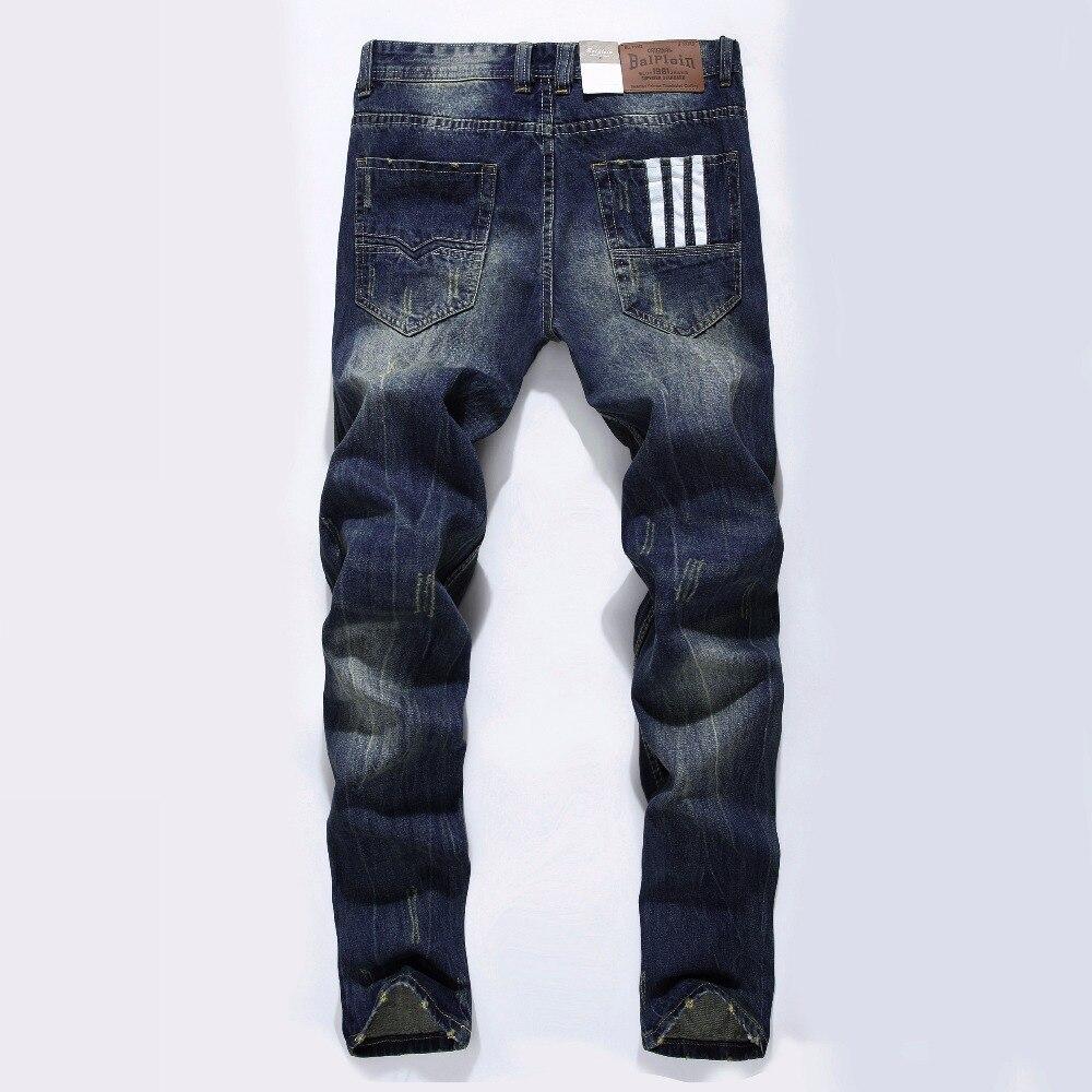 Famosa Marca Designer de Moda Homens Jeans Reta Azul Escuro Cor Impressa Mens Jeans Rasgado calças de Brim, 100% Algodão