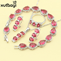 Red Imitation Ruby New Fashion Silver Color Jewelry Sets Graceful Necklace Rings Earrings Bracelet For Women Free Gift