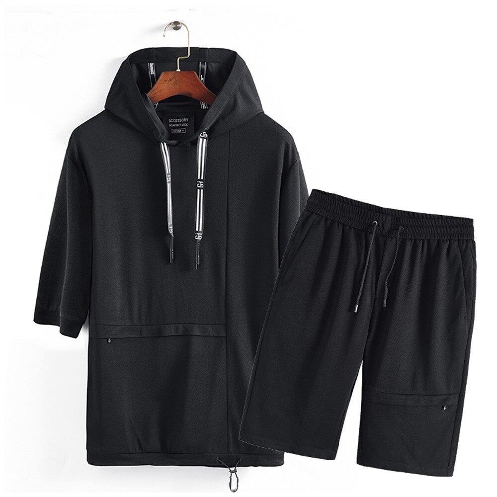 Для мужчин комплект 2018 новый летний Для мужчин s костюм с короткими рукавами футболка с капюшоном шорты Повседневное укороченный топ + шорты...