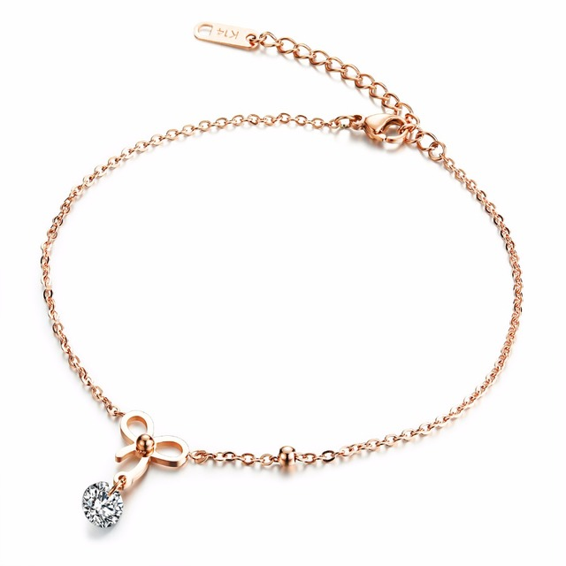 Bowknot is ms single drill anklets 18 k rose gold plating Mosaic