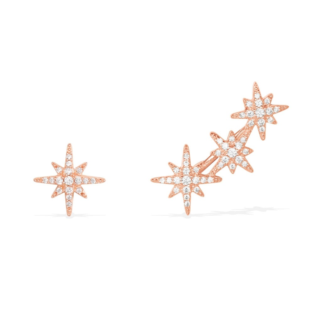 все цены на Luxury rose gold crystal starry cross star earrings for women asymmetric sterling silver earings aretes de mujer modernos 2018