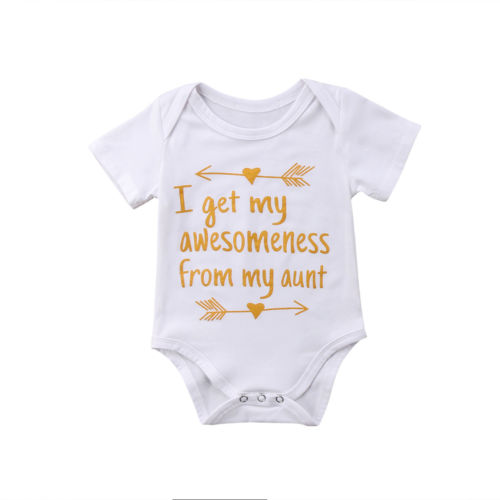 d438dc1f024c Detail Feedback Questions about New Summer Infant Baby Boys Girls Stylish  Bodysuit Letter Print Aunt cotton Jumpsuit clothes Short Sleeve White  Bodysuit 0 ...