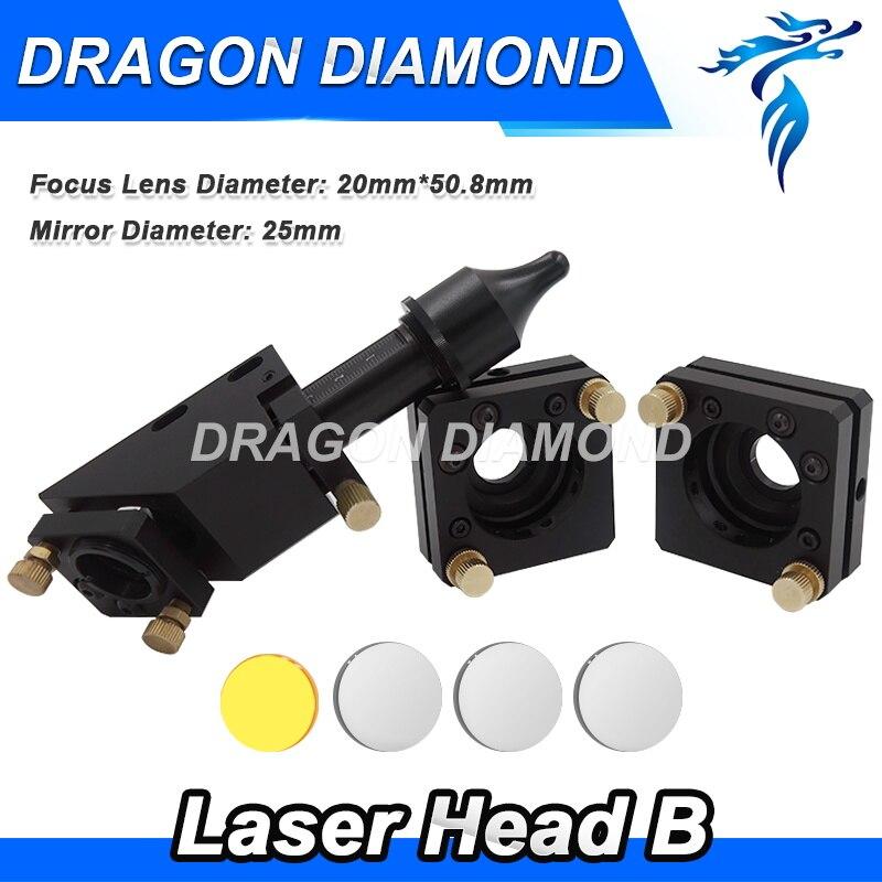 CO2 Engraver Cutter Laser Head Set 20*50.8mm Focal Focus Lens Mirror Integrative Mount Free Shipping