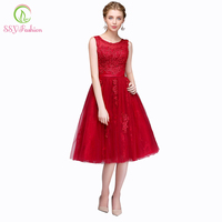2015 New Wine Red Lace Embroidery Sleeveless Tea Length A Line Evening Dresses The Bride Banquet