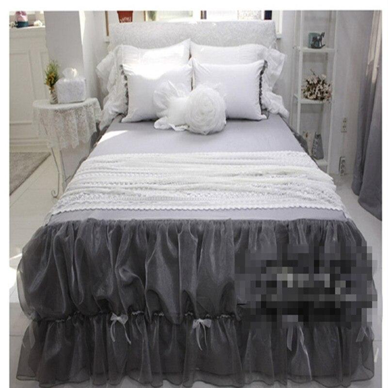 Princesa arco babados fios rendas colcha de cama saia cinza gêmeo completa rainha de tamanho king size постельное белье с рюшами frete grátis YW
