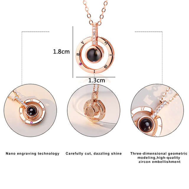Free Shipping New Rose Gold Silver 100 Languages I Love You Projection Pendant Necklace Romantic Love Memory Wedding Necklace 2
