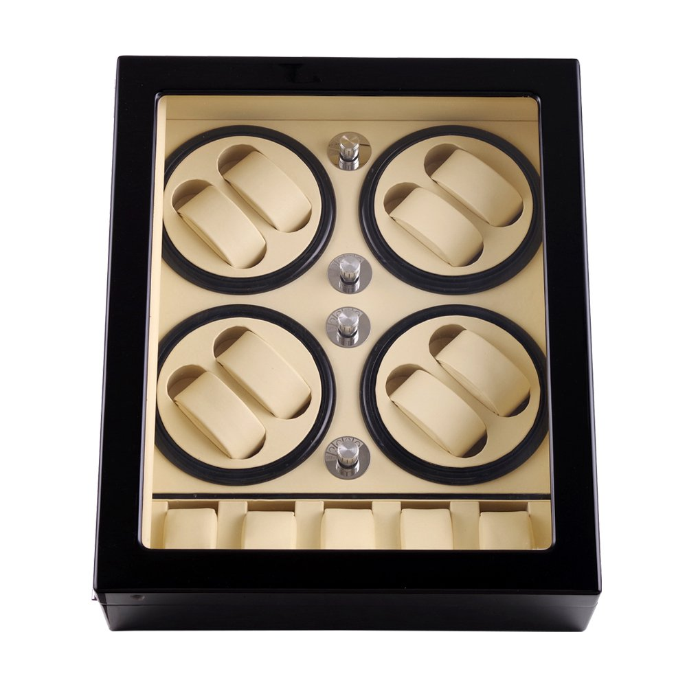 Watch Winder ,LT Wooden Automatic Rotation 8+5 Watch Winder Storage Case Display Box 2019 New style(Inside white Outside black)Watch Winder ,LT Wooden Automatic Rotation 8+5 Watch Winder Storage Case Display Box 2019 New style(Inside white Outside black)